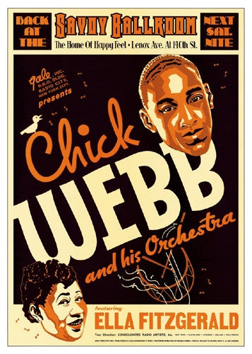 Chick Webb and Ella Fitzgerald Savoy Ballroom 1960 - 24x17 - concert poster