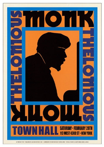 Thelonious Monk Town Hall NYC 1959 - 24x17 - concert poster