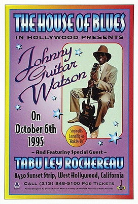 Johnny Guitar Watson The House of Blues Hollywood 1995 - 20x13 - concert poster