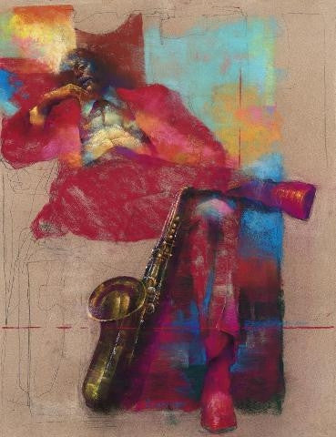 Sax - 17x22 limited edition giclee - Paul Goodnight