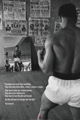 Muhammad Ali In Gym With Mirror - 36x24 - print - Anon