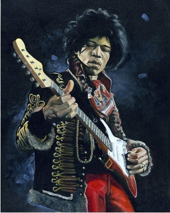 Mellow Jimi Hendrix - 24x30 limited edition giclee on canvas - Leonard Freeman
