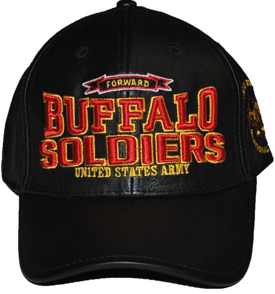 Buffalo Soldiers cap - leather with red letters