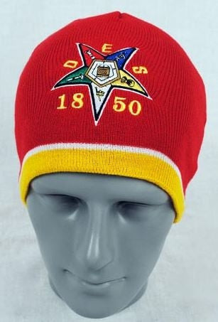 Eastern Star cap - red knit