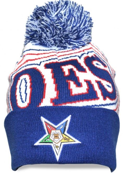 Eastern Star cap - white knit cap with ball