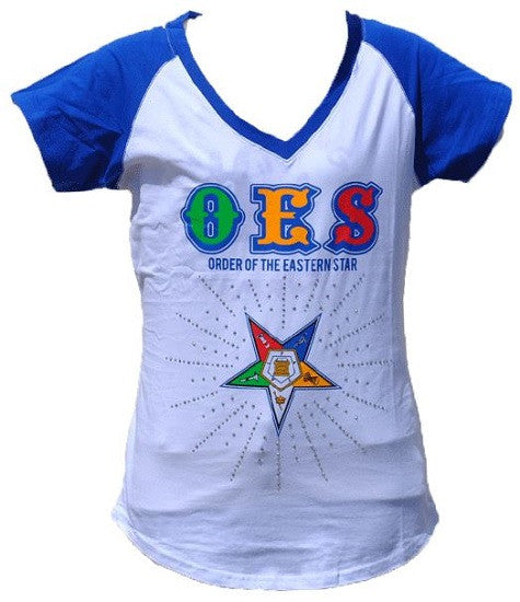Eastern Star t-shirt - white with rhinestones