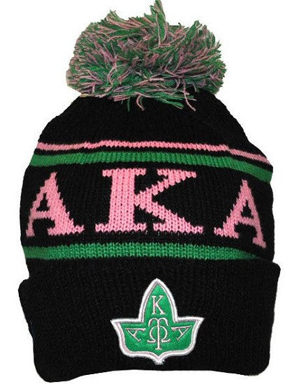 Alpha Kappa Alpha cap - beanie with ball - black ivy