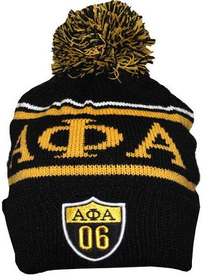 Alpha Phi Alpha cap - beanie with ball - GB248-BLK