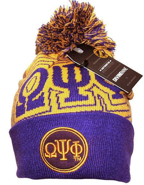 Omega Psi Phi cap - beanie with ball - purple - GB249