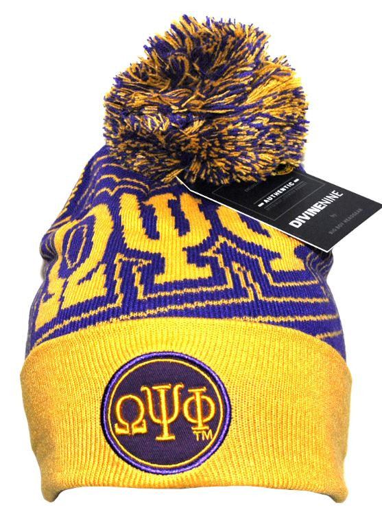 Omega Psi Phi cap - beanie with ball - gold - GB249