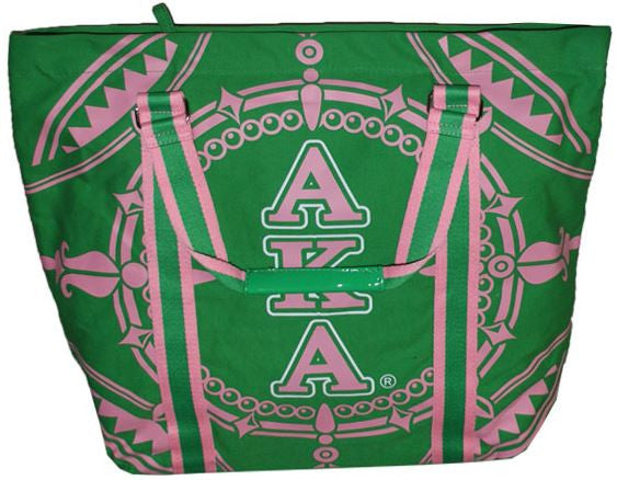 Alpha Kappa Alpha handbag - canvas tote - green-B145