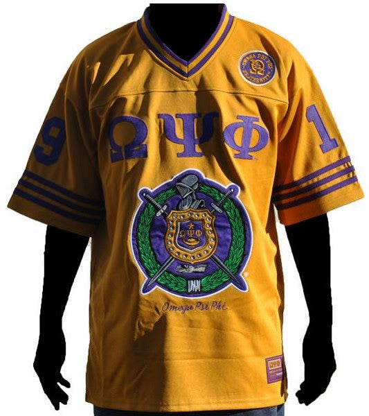 Omega Psi Phi jersey - gold with SOBAT on back