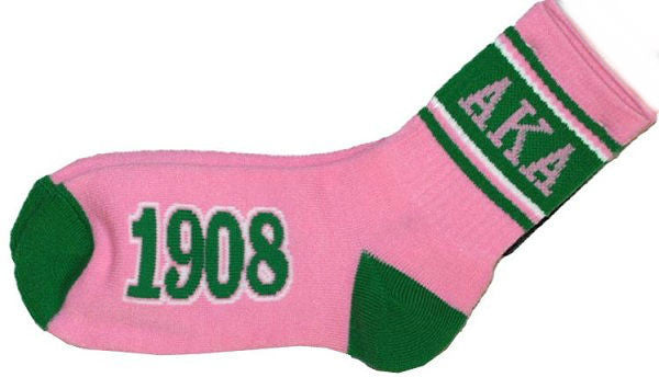Alpha Kappa Alpha socks - crew style - pink and green
