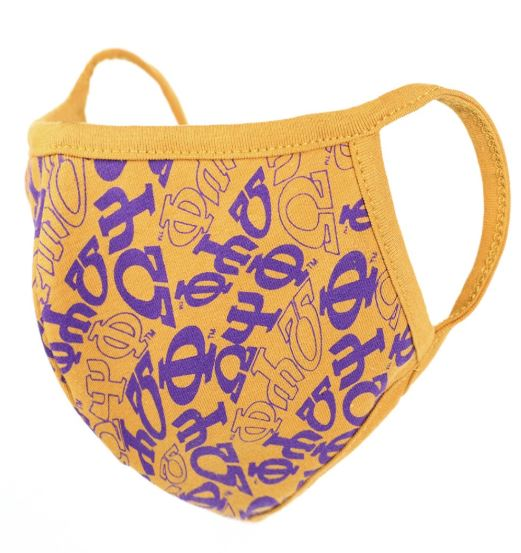 Omega Psi Phi Face Mask - gold