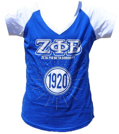 Zeta Phi Beta t-shirt - blue with rhinestones