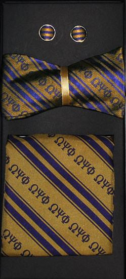 Omega Psi Phi bow tie - cuff links set - gold