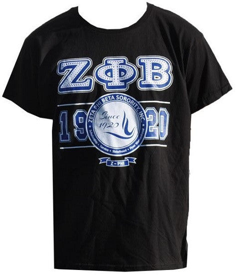 Zeta Phi Beta t-shirt - black with letters and dove