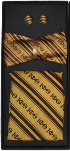 Iota Phi Theta bow tie - cuff links set - gold