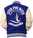 Zeta Phi Beta jacket - varsity style - blue and white