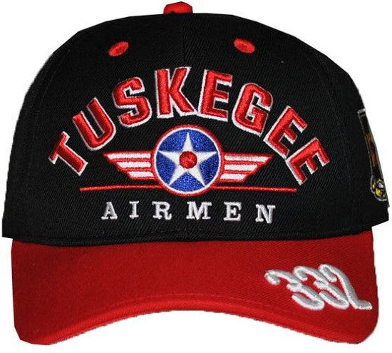 Tuskegee Airmen cap - black crown - red bib