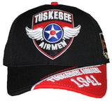 Tuskegee Airmen cap - wings and red-blk bib