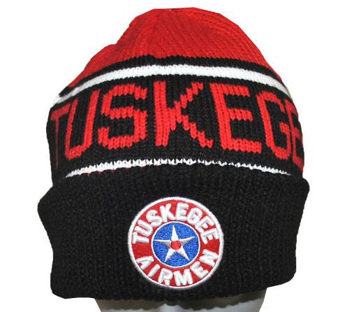 Tuskegee Airmen cap - beanie - black and red