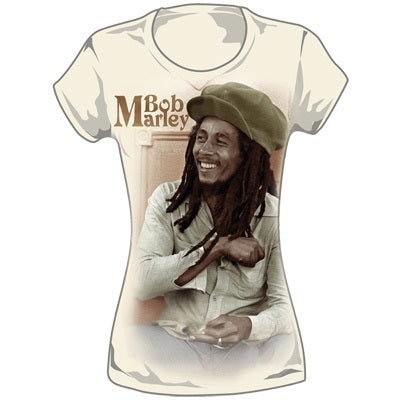 Bob Marley t-shirt - ladies - wearing cap