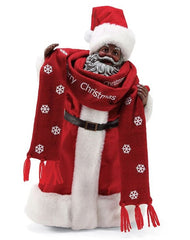 Bundled Up- Black Santa figurine