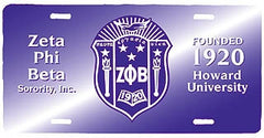Zeta Phi Beta - license plate