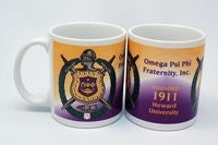 Omega Psi Phi mug - crest and founded date