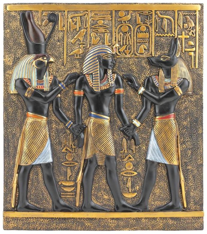 Rameses Horus and Anubis Wall Plaque