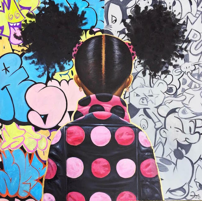Graffiti Pop and Locs - 24x24 - giclee on canvas - Frank Morrison