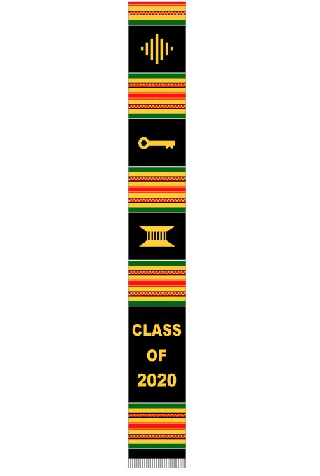 Class of 2020 stole - black with red green stripes