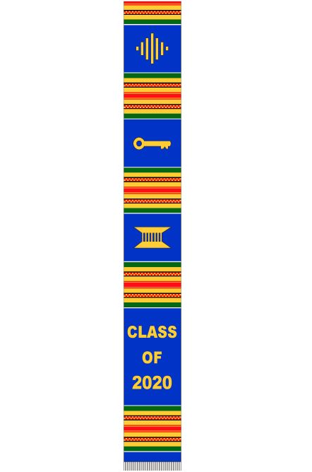 Class of 2020 stole - blue and gold
