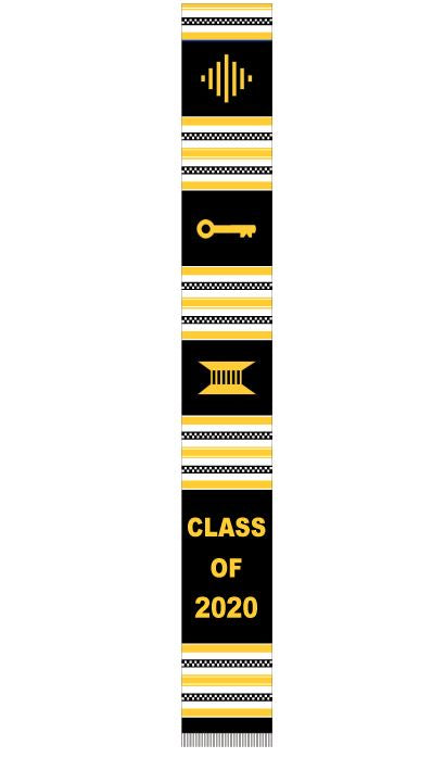 Class of 2020 stole - black white gold