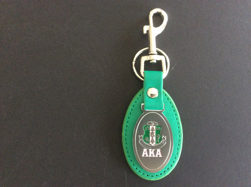 Alpha Kappa Alpha keychain - leather with oval medallion