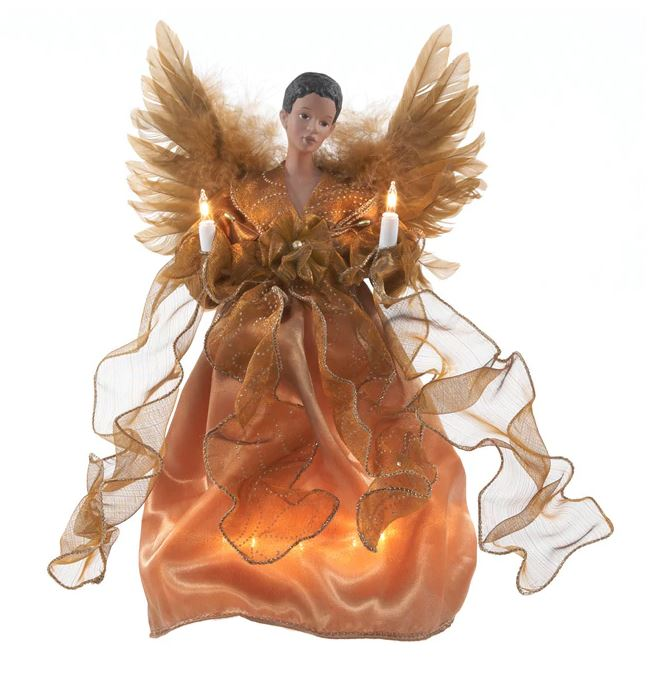 angel tree topper gold with feather wings