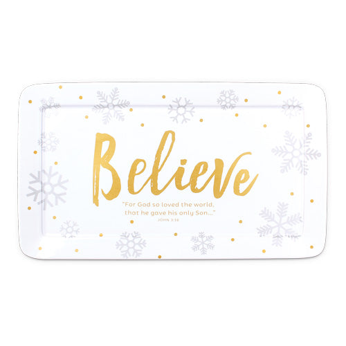 Season of Joy Christmas serving platter - Believe