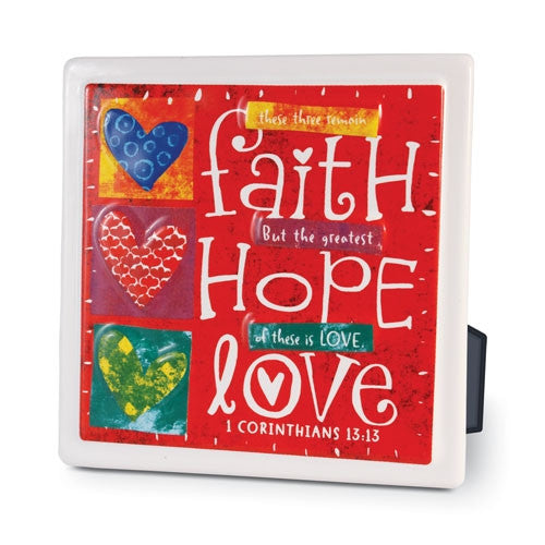 Color Block Series - Faith Hope Love plaque