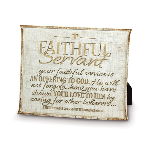 Faithful Servant - Plaque - cream