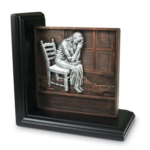 Praying Woman bookend plaque