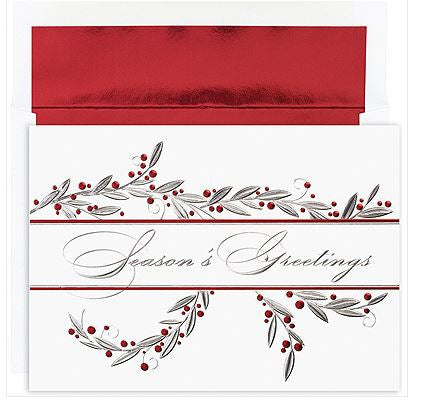 Traditional Christmas Cards - Greetings Berries - MPS-M1110MB