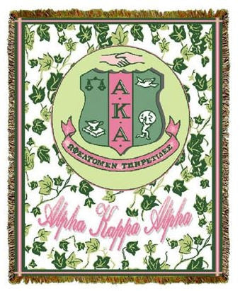 Alpha Kappa Alpha tapestry - cotton throw - ivy shield