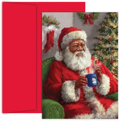 African American Christmas Cards - Santa Warm Up - MPS-887700