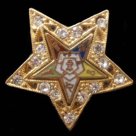 Eastern Star lapel pin - white jeweled
