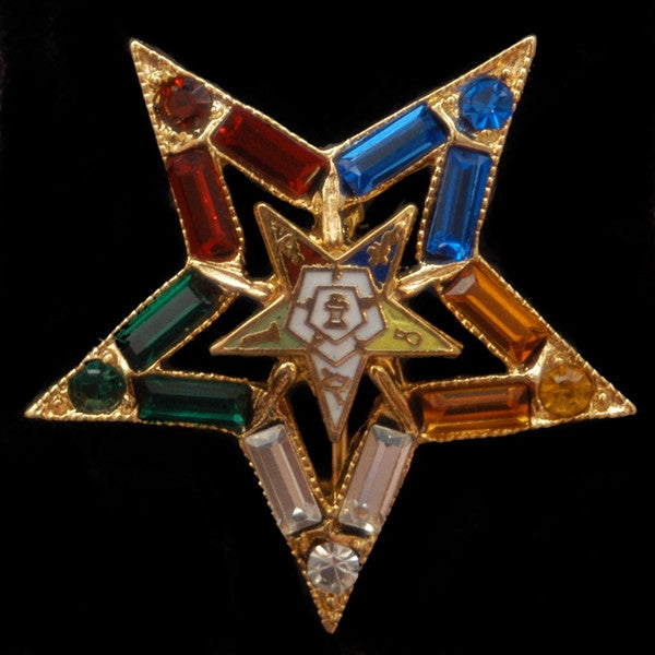 Eastern Star lapel pin - colored jewel