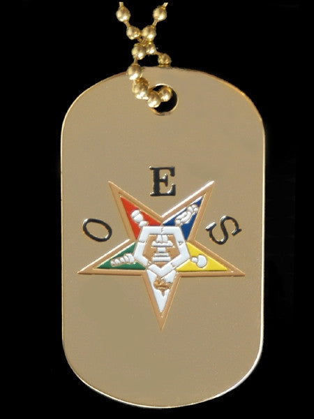 Eastern Star dogtag with chain - gold