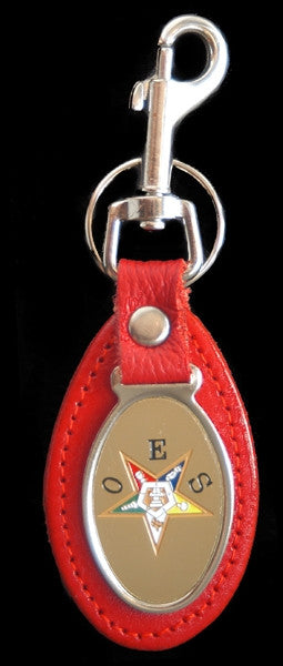 Eastern Star keychain - leather with oval medallion