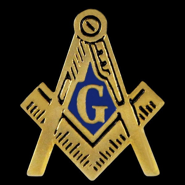 Mason lapel pin - square and compass - gold