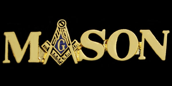 Mason lapel pin - polished gold plated - letter